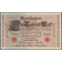 Allemagne - Pick 44b - 1'000 mark - 21/04/1910 - Lettre R - Série K - Etat : pr.NEUF