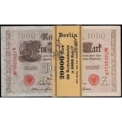 Allemagne - Pick 44b - 1'000 mark - 21/04/1910 - Lettre Z - Série A - Liasse de 20 billets - Etat : NEUF