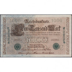 Allemagne - Pick 45b - 1'000 mark - 21/04/1910 (1919) - Lettre C - Série B - Etat : SUP