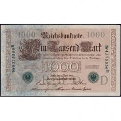 Allemagne - Pick 45b - 1'000 mark - 21/04/1910 (1919) - Lettre D - Série B - Etat : SUP