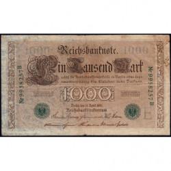 Allemagne - Pick 45b - 1'000 mark - 21/04/1910 (1920) - Lettre E - Série B - Etat : TB