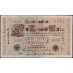 Allemagne - Pick 45b - 1'000 mark - 21/04/1910 (1920) - Lettre F - Série C - Etat : TTB