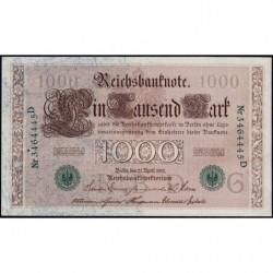 Allemagne - Pick 45b - 1'000 mark - 21/04/1910 (1921) - Lettre G - Série D - Etat : SUP+