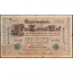 Allemagne - Pick 45b - 1'000 mark - 21/04/1910 (1921) - Lettre G - Série D - Etat : B+