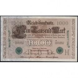 Allemagne - Pick 45b - 1'000 mark - 21/04/1910 (1921) - Lettre H - Série D - Etat : TTB+