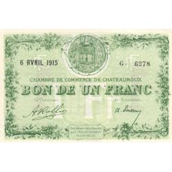 Chateauroux - Pirot 46-2 - 1 franc - Série G - 06/04/1915 - Etat : SUP+