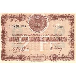 Chateauroux - Pirot 46-4 - 2 francs - Série A - 06/04/1915 - Etat : SPL+