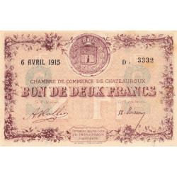 Chateauroux - Pirot 46-4 - 2 francs - Série D - 06/04/1915 - Etat : SUP