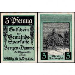 Allemagne - Notgeld - Bergen an der Dumme - 5 pfennig - 1921 - Etat : SPL