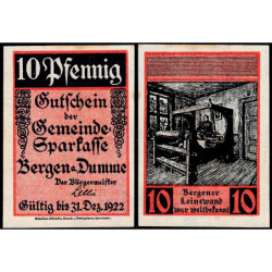 Allemagne - Notgeld - Bergen an der Dumme - 10 pfennig - 1921 - Etat : SPL