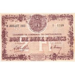 Chateauroux - Pirot 46-9 - 2 francs - Série I - 08/07/1915 - Etat : SUP+