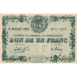 Chateauroux - Pirot 46-12 - 1 franc - Série AF - 08/07/1915 - Etat : SUP+