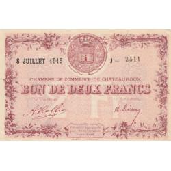 Chateauroux - Pirot 46-13 - 2 francs - Série J - 08/07/1915 - Etat : SUP+