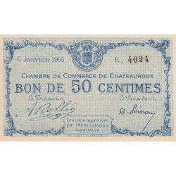 Chateauroux - Pirot 46-16-K - 50 centimes - 1916 - Etat : SPL+