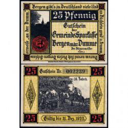 Allemagne - Notgeld - Bergen an der Dumme - 25 pfennig - 1921 - Etat : NEUF