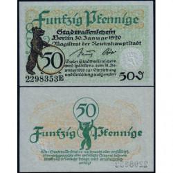 Allemagne - Notgeld - Berlin - 50 pfennig - Série E - 30/01/1920 - Etat : NEUF