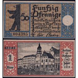 Allemagne - Notgeld - Berlin - 50 pfennig - 09/09/1921 - Etat : NEUF