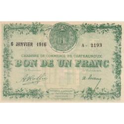 Chateauroux - Pirot 46-17-A - 1 franc - 1916 - Etat : SPL