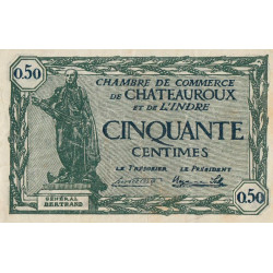 Chateauroux (Indre) - Pirot 46-28-B - 50 centimes - 1922 - Etat : TTB