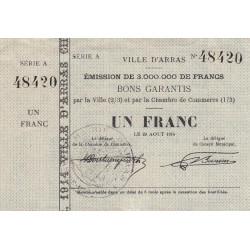 Arras - Pirot 13-1 - 1 franc - 1914 - Etat : SUP