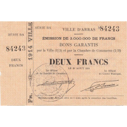 Arras - Pirot 13-2 - 2 francs - 1914 - Etat : SUP