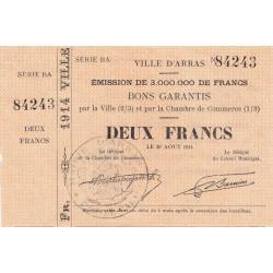 Arras - Pirot 13-2 - 2 francs - Série BA - 24/08/1914 - Etat : SUP