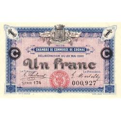 Cognac - Pirot 49-10 - 1 franc - Série 174 - 22/05/1920 - Etat : SUP