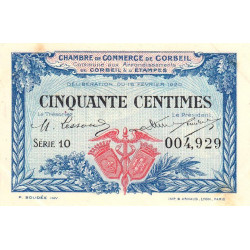 Corbeil - Pirot 50-1 - 50 centimes - Série 10 - 16/02/1920 - Etat : SUP