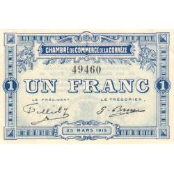 Corrèze / Tulle / Brive - Pirot 51-3 - 1 franc - 1915 - Etat : SUP+