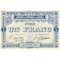 Corrèze / Tulle / Brive - Pirot 51-3 - 1 franc - Sans série - 25/03/1915 - Etat : SUP+