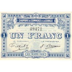 Corrèze / Tulle / Brive - Pirot 51-3 - 1 franc - 1915 - Etat : SPL