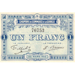 Corrèze / Tulle / Brive - Pirot 51-6 - 1 franc - Série D - 25/03/1915 - Etat : SUP+