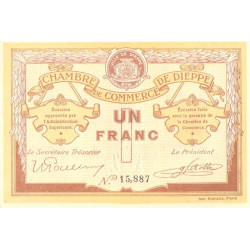 Dieppe - Pirot 52-4a - 1 franc - Sans date (1915) - Etat : SUP+