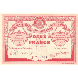 Dieppe - Pirot 52-7a - 2 francs - 1915 - Etat : SUP+