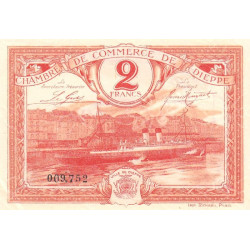 Dieppe - Pirot 52-19 - 2 francs - Etat : SUP+