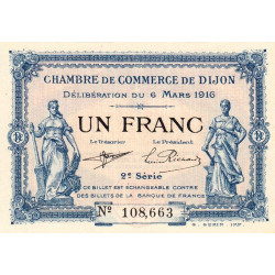 Dijon - Pirot 53-9 - 1 franc - 1916 - Etat : SPL+ à NEUF
