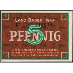 Baden - Occupation Française - Pick S 1001a - 5 pfennig - Série C - 1947 - Etat : NEUF