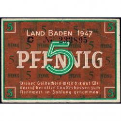 Baden - Occupation Française - Pick S 1001a - 5 pfennig - Série C - 1947 - Etat : TTB+