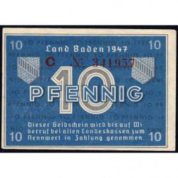 Baden - Occupation Française - Pick S 1002a - 10 pfennig - Série C - 1947 - Etat : SUP+
