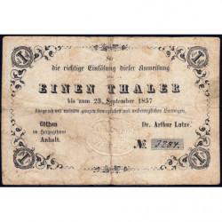 Anhalt - Duché de Anhalt-Cöthen - Pick non rép. - 1 thaler - 23/09/1857 - Etat : TB