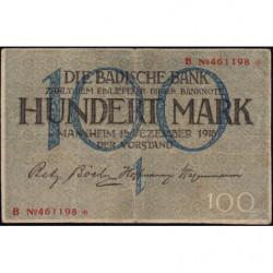 Banque de Baden - Pick S 907 - 100 mark - Série B - 15/12/1918 - Etat : TTB-