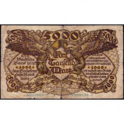 Banque de Baden - Pick S 909 - 5'000 mark - Sans série - 01/12/1922 - Etat : B