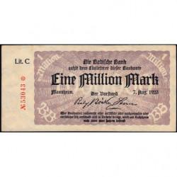 Banque de Baden - Pick S 912 - 1 million mark - Série C - 07/08/1923 - Etat : SUP+