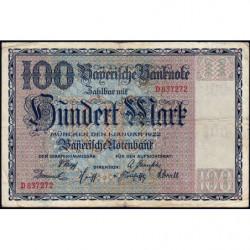 Banque de Bavière - Pick S 923 - 100 mark - Série D - 01/01/1922 - Etat : TB+