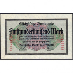 Banque de Saxe - Pick S 961 - 500'000 mark - Sans série - 15/08/1923 - Etat : TTB+