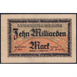 Banque du Württemberg - Pick S 990a - 10 milliard mark - Série G - 15/10/1923 - Etat : TTB+