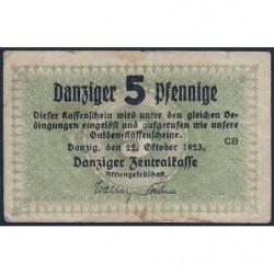 Dantzig - Pick 34a - 5 pfennige - 22/10/1923 - Etat : TB+