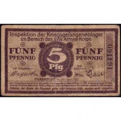 Allemagne - Camp de prisonniers - Francfort - 5 pfennig - 01/01/1917 - Etat : TB+