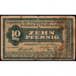 Allemagne - Camp de prisonniers - Francfort - 10 pfennig - 01/01/1917 - Etat : TB