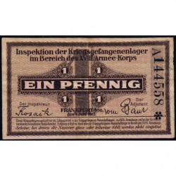 Allemagne - Camp de prisonniers - Francfort - 1 pfennig - Série A - 01/06/1917 - Etat : TTB